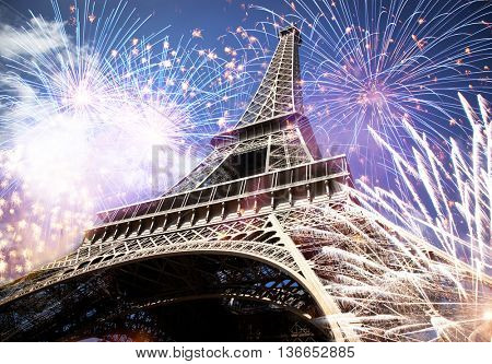 Abstract background of Eiffel tower with fireworks, Paris, France - New Year