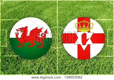 Wales vs Nothern Ireland icons at green background
