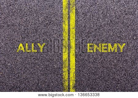 Tarmac background with the words ally and enemy poster