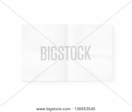Open blank newspaper mock up isolated on white 3d rendering. White gazette mockup presentation. Magazine template layout. Redactor text makeup. Daily opened in middle. Empty newsprint booklet design.