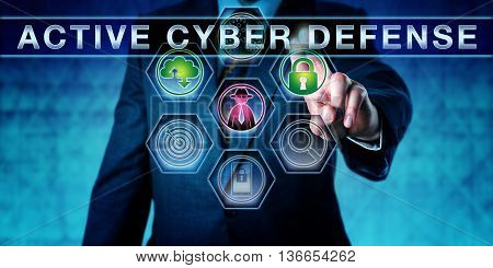 Torso shot of businessman pressing the words ACTIVE CYBER DEFENSE. Green closed padlock and cloud icon signify secure data transfer. Security engineering metaphor. Cybersecurity concept.