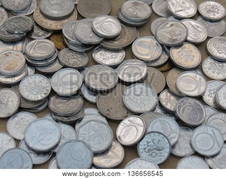 Czech korunas CZK (legal tender of the Czech Republic) coins - small change (10h and 20h) now withdrawn poster