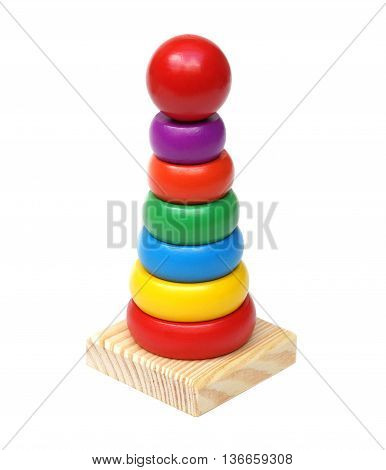 Colorful wooden toy isolated on white background