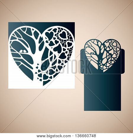 Openwork heart with a tree inside. Laser cutting template for wedding envelopes and invitations.