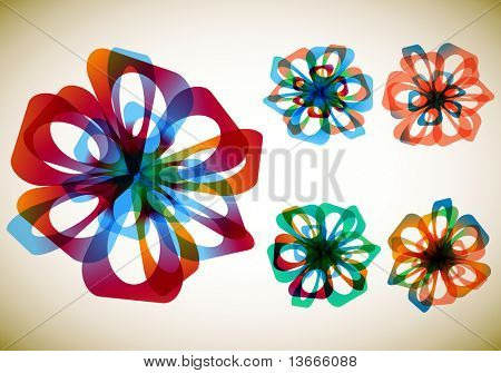 Set of five abstract flowers