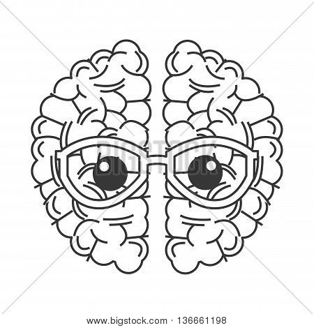 simple flat design brain with glasses icon vector illustration