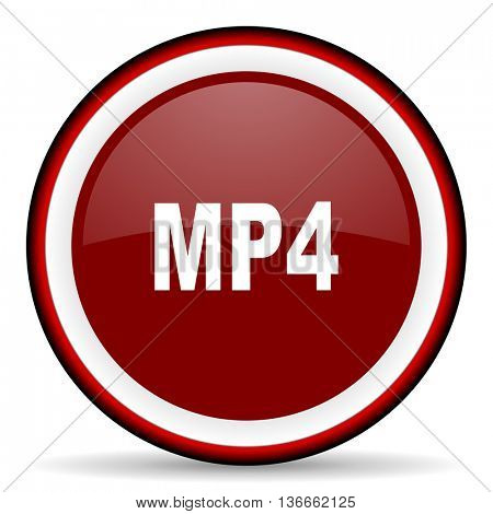 mp4 round glossy icon, modern design web element