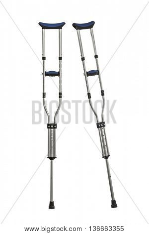 Adjustable metal crutches isolated on white.