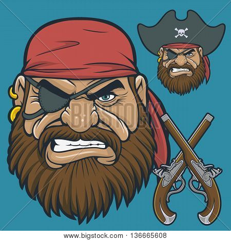 Pirate Heads with a pair of Flintlock Pistols