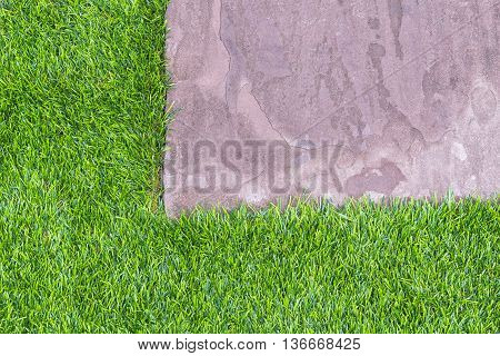 The stone footpathThe sand stone footpath on the grass.The green grass with the sand stone footpath.The texture of the sand stone footpath with the grass.