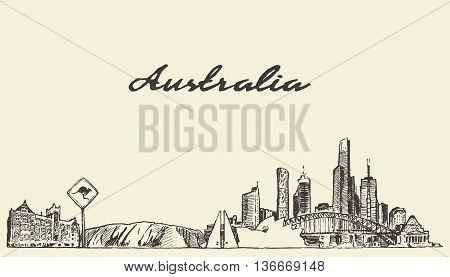 Australia skyline vector engraved illustration hand drawn sketch
