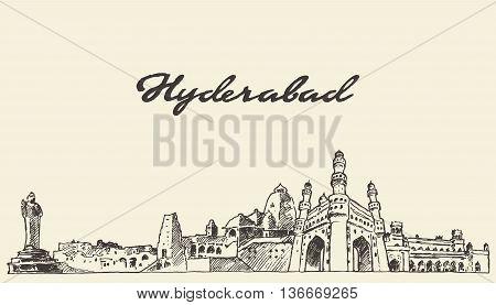 Hyderabad skyline vector engraved illustration hand drawn sketch
