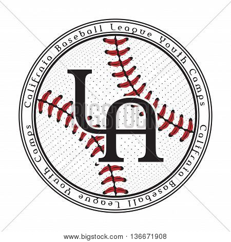T shirt baseball typography graphics for college varsity team. Los Angeles California. Athletic style LA. Fashion stylish print design sports wear. Template apparel card poster. Vector illustration