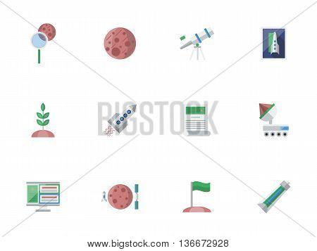 Cosmos exploration concept. Space and Universe. Future journeys and travels, expedition to Mars and Moon, colonization symbols. Set of colored flat style vector icons.