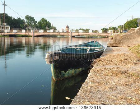 Empty boat on the bayou St John, New Orleans, Louisiana