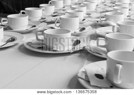 Monotone Color Set Of Coffee Break At Meeting