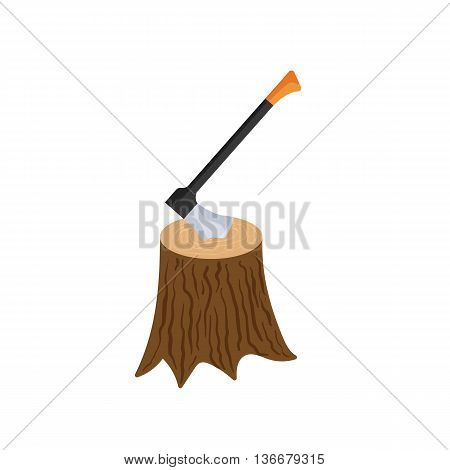 Stump with axe icon in cartoon style isolated on white background. Felling symbol
