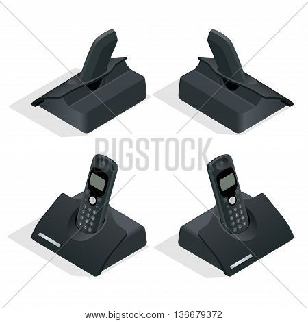 Wireless landline phone with cradle. On a white background. Flat 3d vector isometric illustration
