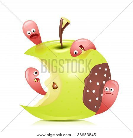 Worm eaten rotten apple 3D. Vector illustration.