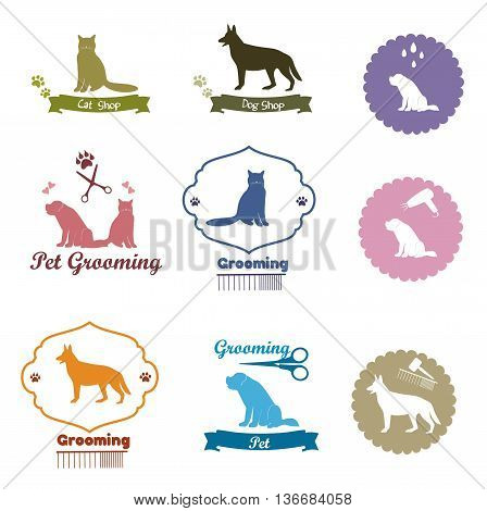 Pet grooming logo set, Pet shop emblem set, pet element collection