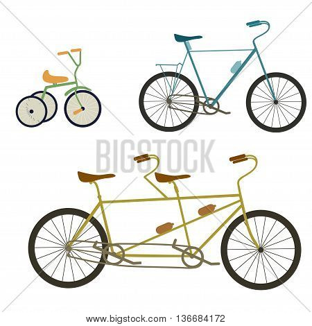 Children bicycle, tandem bike, bicycle vecor illustration isolated on white background.