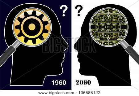 Digital Idiot versus Digital Native. Humorous concept sign of how the digital era changes the human brain poster