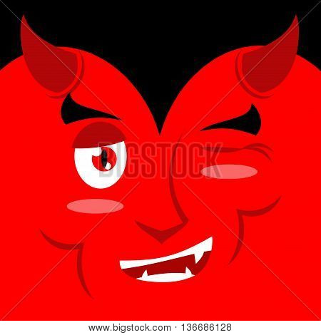 Devil Winks. It Suggests Emotion On Red Background. Demon Makes Warning. Satan Warns. Mephistopheles