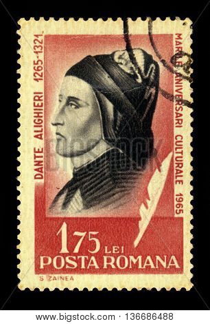 ROMANIA - CIRCA 1965: a stamp printed in the Romania shows Dante Alighieri, italian poet, most famous for his Divine Comedy, circa 1965