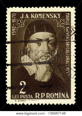 ROMANIA - CIRCA 1958: a stamp printed in the Romania shows Jan Amos Komensky (John Amos Comenius), czech philosopher, pedagogue and theologist, circa 1958