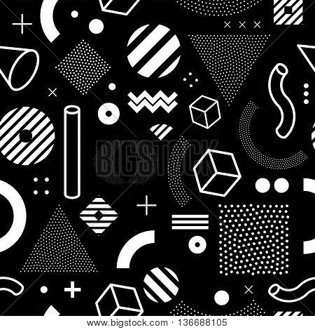 80s retro seamless pattern. 1990 background style. Mathematical pattern of geometric shapes. Vector illustration. Memphis style for fashion poster