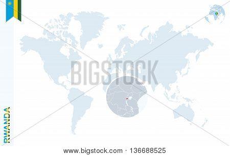 Blue World Map With Magnifying On Rwanda.