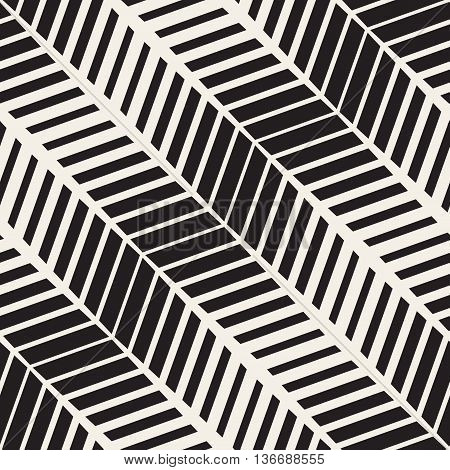 Vector Seamless Black And White Pavement Halftone Lines Geometric Pattern