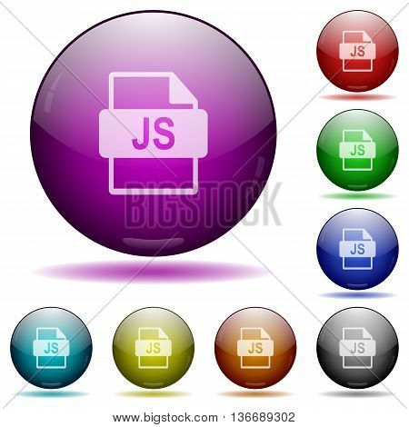 Set of color JS file format glass sphere buttons with shadows.