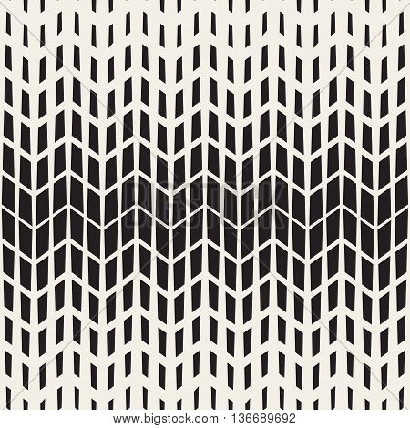 Vector Seamless Black And White Chevron Halftone Geometric Pattern