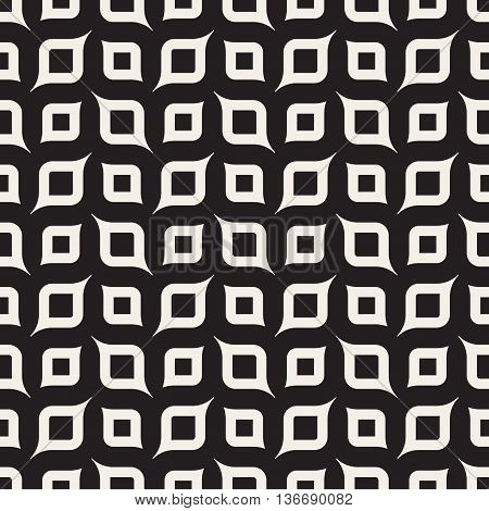 Vector Seamless Black And White Rounded Shapes Geometric Pattern