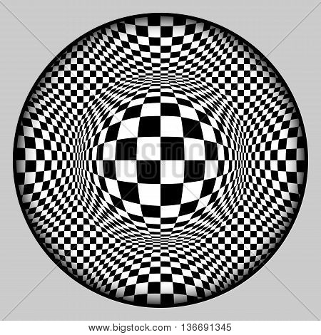 Аbstract background. Checkered surface with voluminous balls in frame with shadow. Black and white monochrome pattern. Vector stylization 3d.