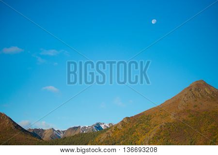 Moon And Sky In Morning At Denali National Park