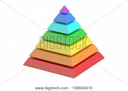 business pyramide with color levels pyramid chart. 3D rendering isolated on white background