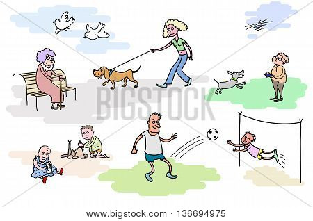 The resting people. The rest outdoor. Walking with the dog. Playing kids. Family resting outdoor. Little kids playing.