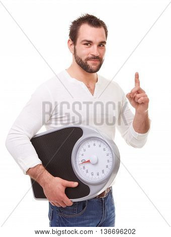 Young Man Holding Scale Weight And Reproaching