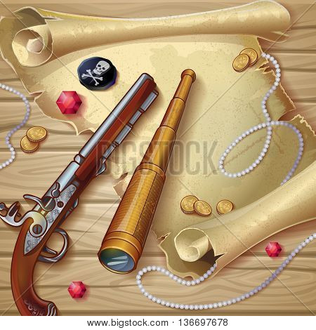 Pirate accessories composition with sheet of old paper gun spyglass treasure on wooden background vector illustration