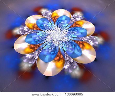 Abstract flower mandala on blurred background. Symmetrical pattern in beige deep blue orange and brown colors. Fantasy fractal design.