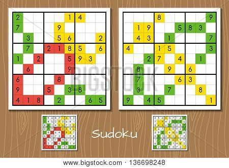 Sudoku middle level vector set with answers
