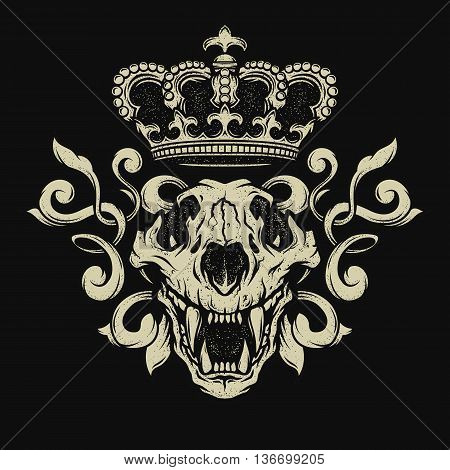 The crown and the lion skull. Heraldic emblem on the dark background.