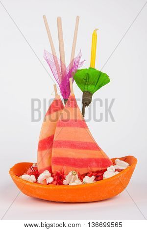 Krathong Made From Clay Soil.