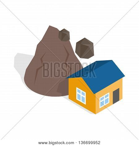 Rockfall destroys house icon in isometric 3d style on a white background