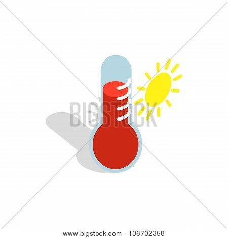 Thermometer indicates extremely high temperature icon in isometric 3d style on a white background