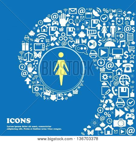 Female Sign Icon. Woman Human Symbol. Women Toilet . Nice Set Of Beautiful Icons Twisted Spiral Into