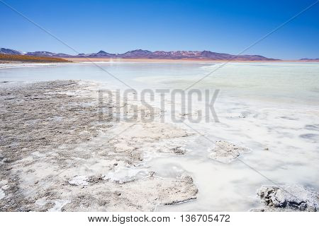 Hot Water Ponds And Frozen Lake On The Andes, Bolivia