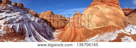 Panorama view of The Wave in winter Arizona